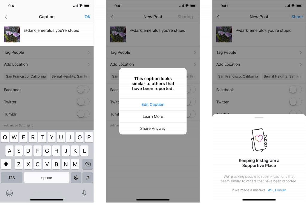 Instagram pop up to reconsider offensive captions