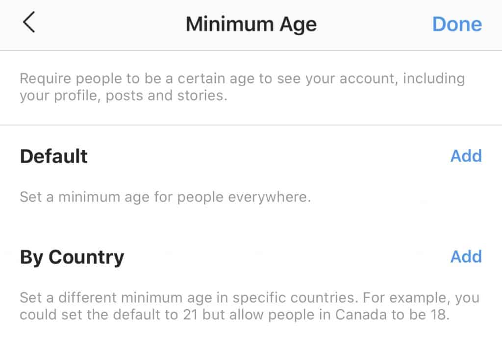 Minimum age settings on Instagram