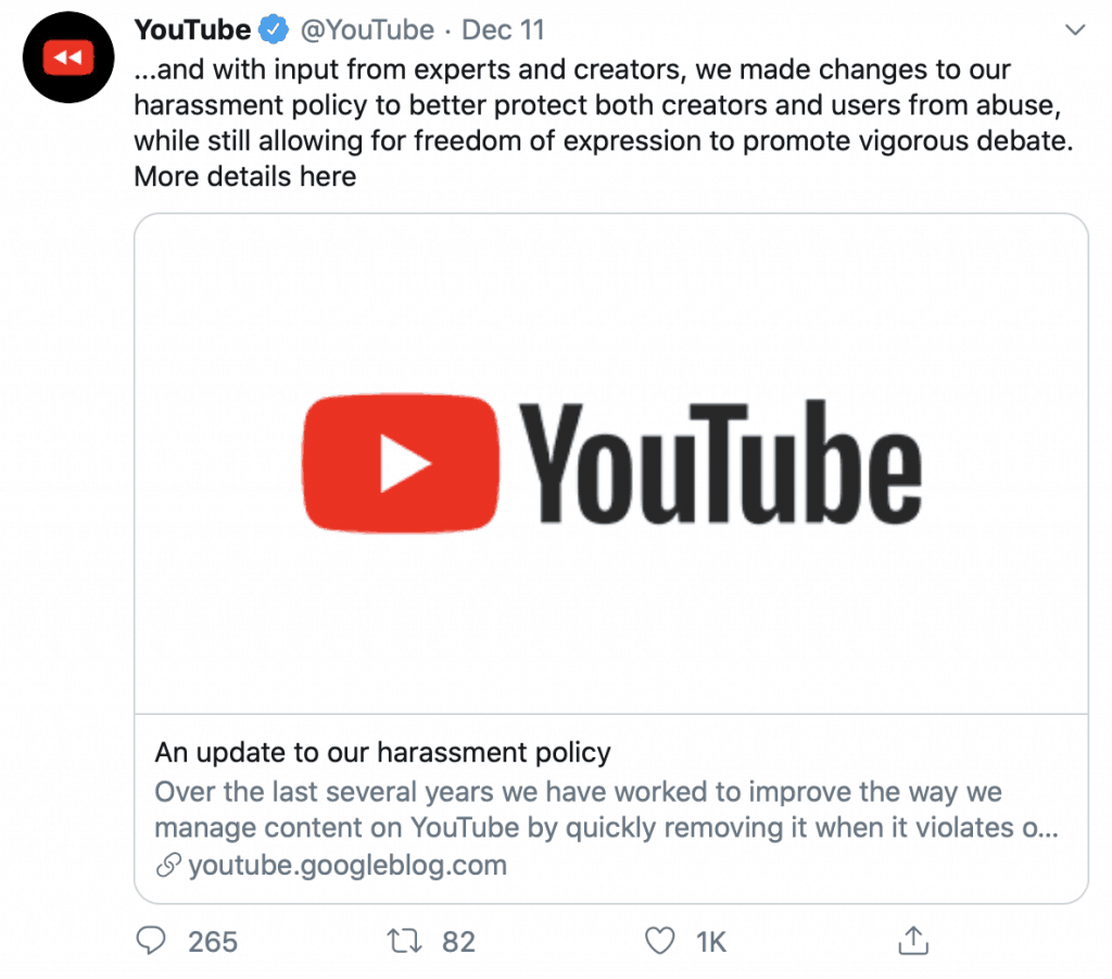 Youtube harassment policy update notification on Twitter.
