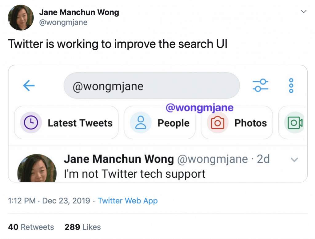 Jane Manchun Wong tweet showing new Twitter UI