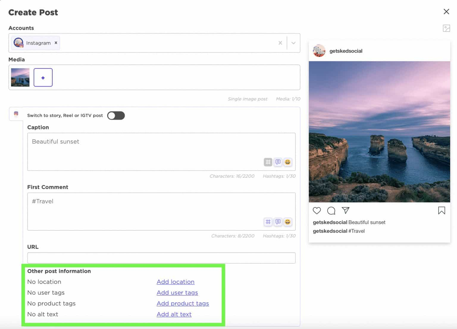 Adding product tags to Instagram post on Sked Social